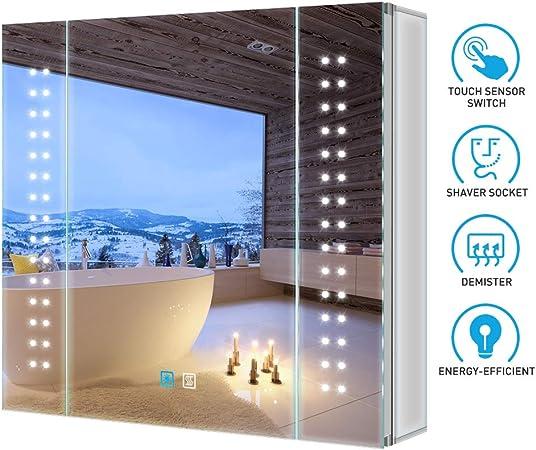 Tokvon Galaxy LED Mueble de Espejo de baño de Aluminio con Enchufe ...