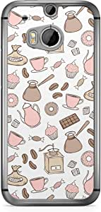 Pink Brown HTC One M8 Transparent Edge Case - Bakery Collection