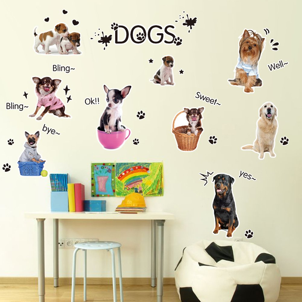 Wallpark Cartone animato Carino Piccolo Cani Impronte Removibile Adesivi Murali Adesivi da Parete Bambini Camera Vivai DIY Arte Decorativo Adesivo Murale