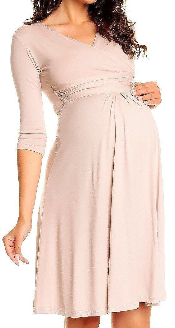 Zeta Ville - Vestito a pieghe svasato pré maman manica 3/4 - donna 282Ac maternity_dress_282A