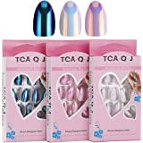 AORAEM Stiletto Chrome Nail Tips 72Pcs Mixed Assorted Color Mirror Metallic French Style Acrylic Press On Full Cover False Artificial Nail Art DIY Tips #2 (Dark Blue + Pearl White + Pink)
