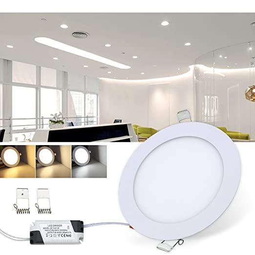 9120258bf6d VINGO® 6 W LED Panel Light Ceiling Downlight Panel Light Round Wall Light  Colour Change Recessed Ceiling Spot Light 3 Colours  Amazon.co.uk  Lighting