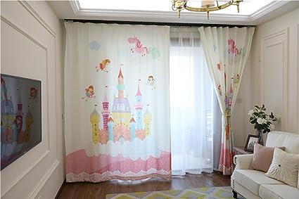 Tende Per Finestra Singola : Tendaggi per bambini d castello in rosa stampa tende a finestre a
