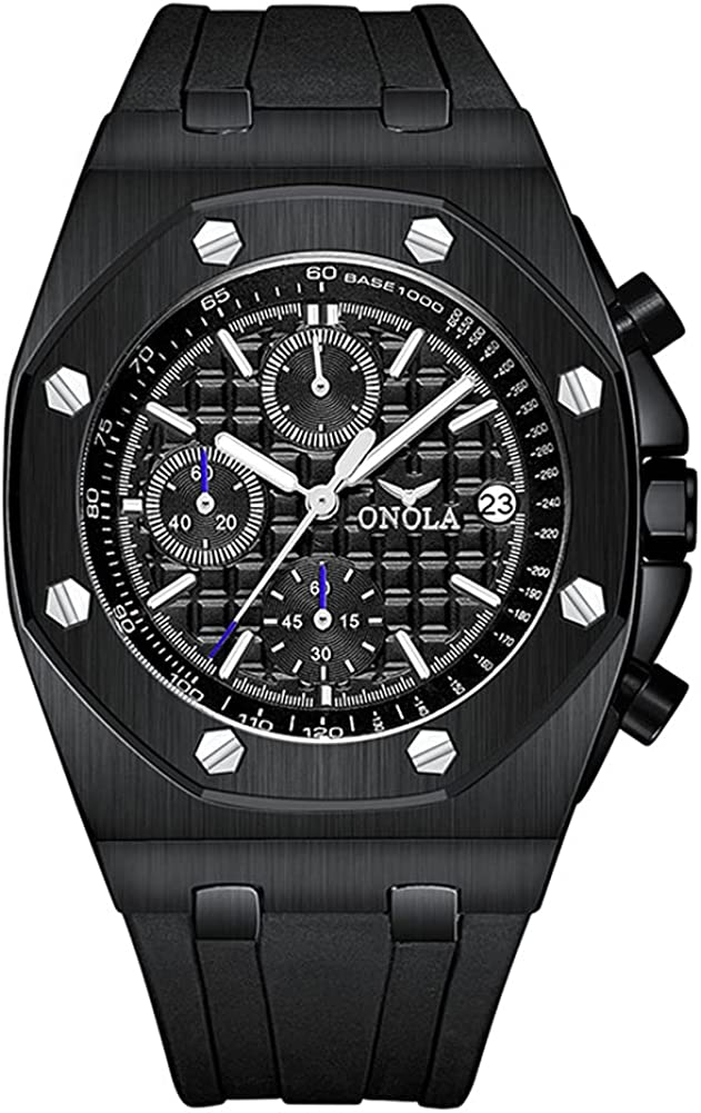 Reloj de pulsera analógico de acero inoxidable para hombre, resistente al agua, resistente a los arañazos, elegante, de negocios, con correa de silicona suave para hombres