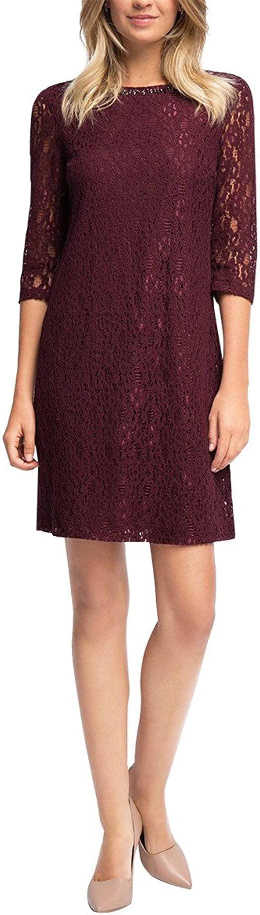 ESPRIT Collection Damen Kleid aus Spitze, Knielang, Gr. 15, Rot