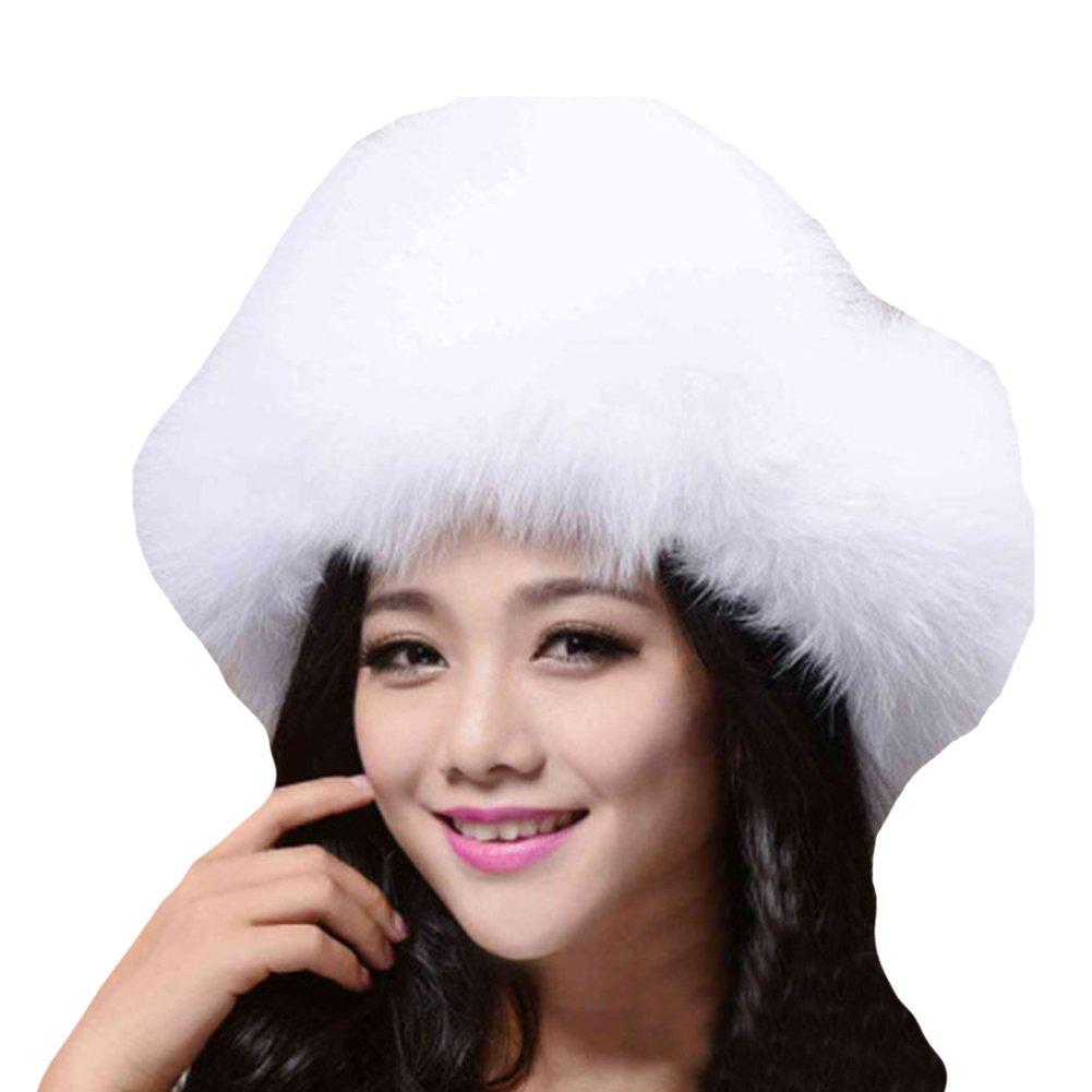 Amazon.com  Duoduo888 Women s Russian Hat Real Fox Fur Ushanka Cossack  Trapper Winter Hats White  Clothing f9d18b96318