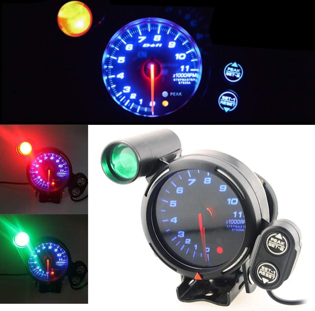 3.75 Inch 12V Car Tachometer Gauge Kit 11000 RPM Blue LED with Shift Light