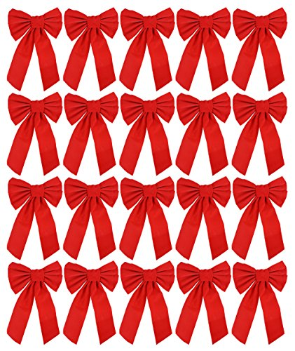 Bow 9-inch X 16-inch, 20 Pack of Holiday Bows (Red Bows)