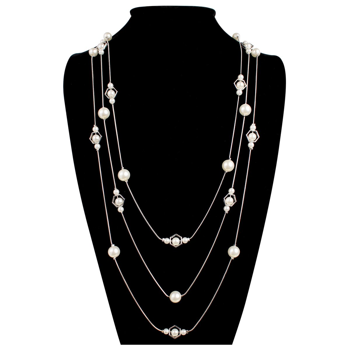 MYS Collection Women's Octagon Acrylic Pearl Chain Necklace HDN1348S