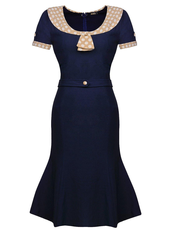 Miusol® Damen Sommerkleid Rundhals mit Polka Dots 1950er Retro Fishtail Cocktailkleid Stretch Kleid Blau EU 36-46