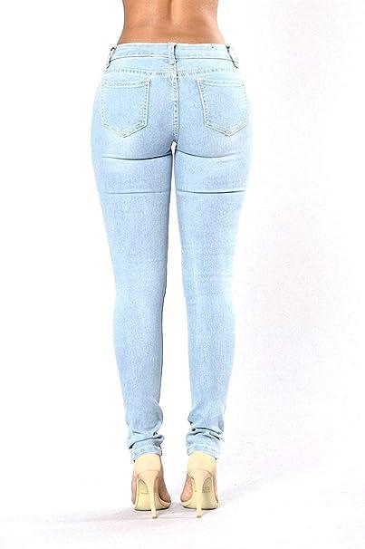 Pantalones De Jeans para Mujer Pantalones De Lápiz Elástico ...