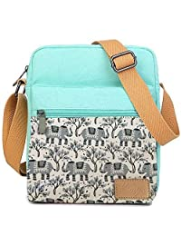 Kemy's Girls Elephants Crossbody Bag Set Canvas Small Cross Body Bags for Women Messenger with Matching Wristlet Bag for Traveling, Christmas Gift (Teal Gray)