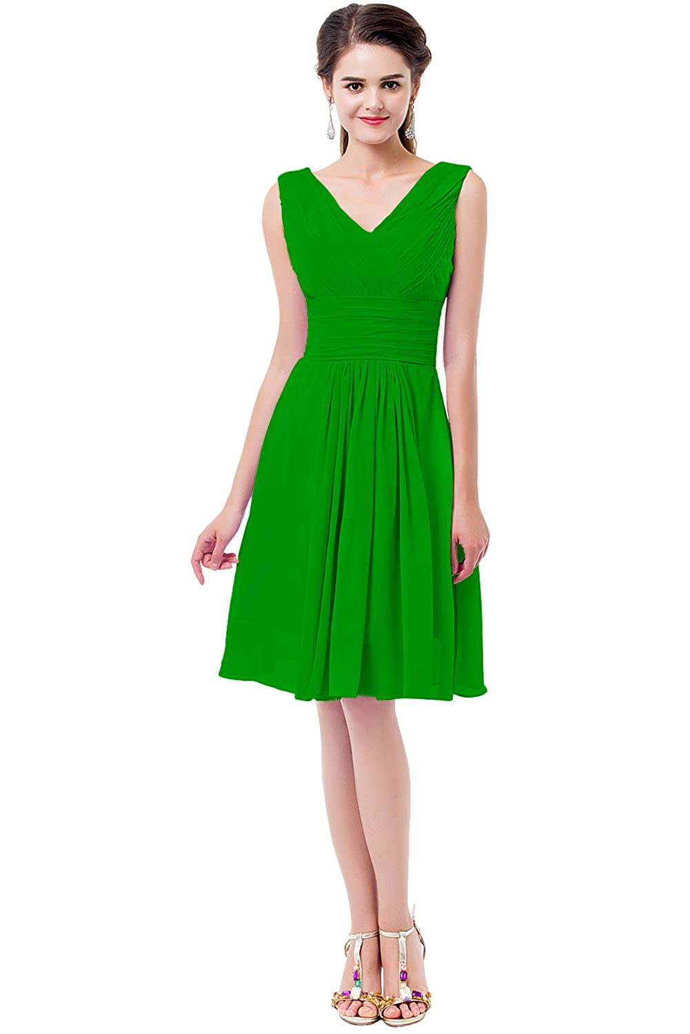 DressyMe Womens A-Line Bridesmaid Dresses Short Double V-Neck: Amazon.co.uk: Clothing