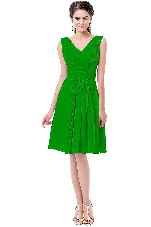 DressyMe Womens A-Line Bridesmaid Dresses Short Double V-Neck: Amazon.co.uk: Clothing