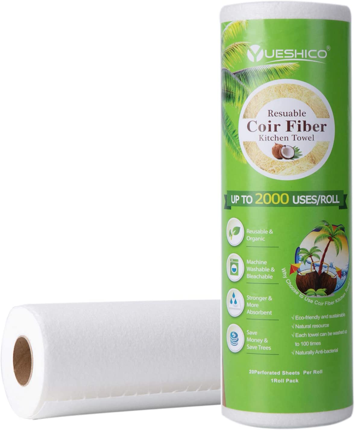 YUESHICO Reusable Paper Towels - Sustainable Coir Fiber Unpaper Towels - Organic Super Strong Durable and Absorbent Washable Kitchen Paper Towels - Eco Friendly, Biodegradable - 1 Rolls, 20 Sheets
