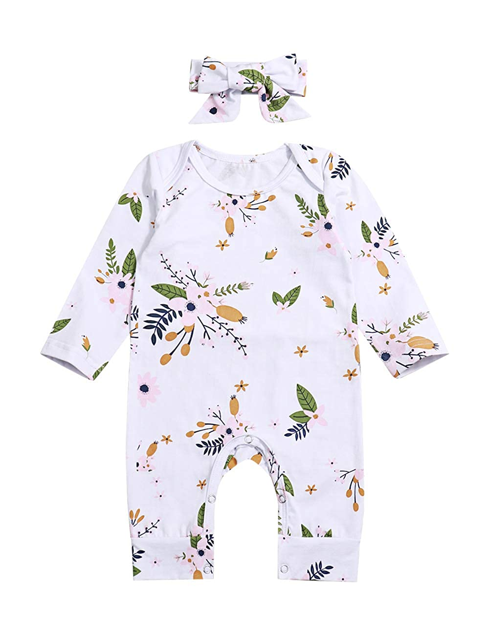 Newborn Infant Baby Girl Clothes Floral Printed Romper Long Sleeve Jumpsuit with Headband Clothing Set