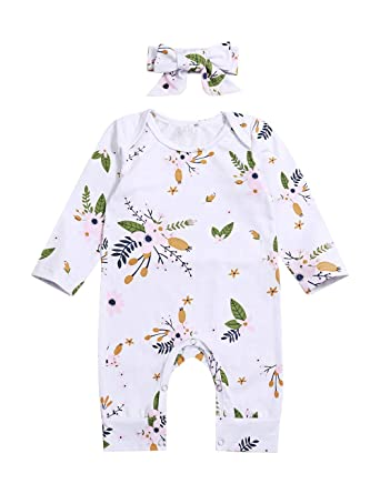 11e924e3968 Newborn Infant Baby Girl Clothes Floral Printed Romper Long Sleeve Jumpsuit  with Headband Clothing Set(