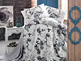 LaModaHome Luxury Soft Colored Full and Double Bedroom Bedding 100% Cotton Super Coverlet (Pique) Thin Coverlet Summer/Bird Tree Forest Plant Nature Black and White Animal /