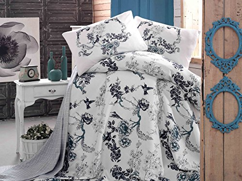 LaModaHome Luxury Soft Colored Full and Double Bedroom Bedding 100% Cotton Super Coverlet (Pique) Thin Coverlet Summer/Bird Tree Forest Plant Nature Black and White Animal / by LaModaHome