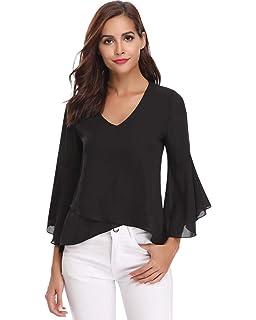 30cf0d37c5e45e Hawiton Women V Neck 3/4 Bell Sleeve Chiffon Blouse Flowy Shirt Loose Top  Shirts