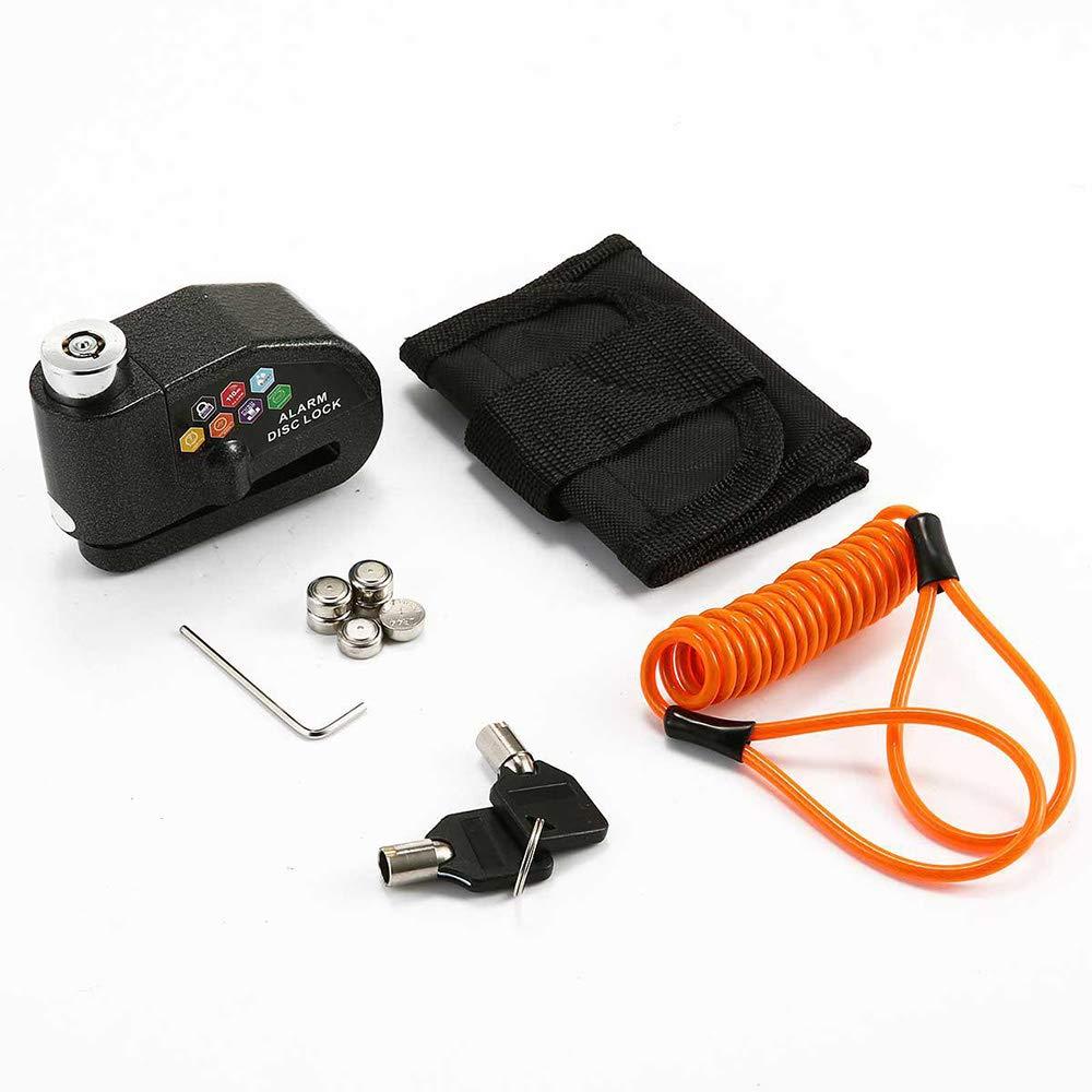 Blocco antifurto per Moto dallarme MYFGBB Freno a Disco Impermeabile 110dB Suono di Allarme e 6mm Pin Disco Freno Serratura di Sicurezza con Cavo di promemoria da 1,5 m per motocicli