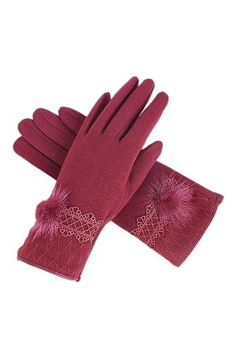 La Mujer Invierno Fleece Warm Touchscreen Mensajes Faux Fur Ball Mitones Guantes Ciclismo Al Aire Li...