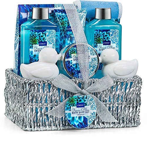 Home Spa Gift Basket in Heavenly Ocean Bliss Scent - 9 Piece Bath & Body Set With Shower Gel, Bubble Bath, Salts, Lotions & more! Great Wedding, Mothers Day, Birthday & Graduation Gift for Women & Men - Waters Blue Set Bath
