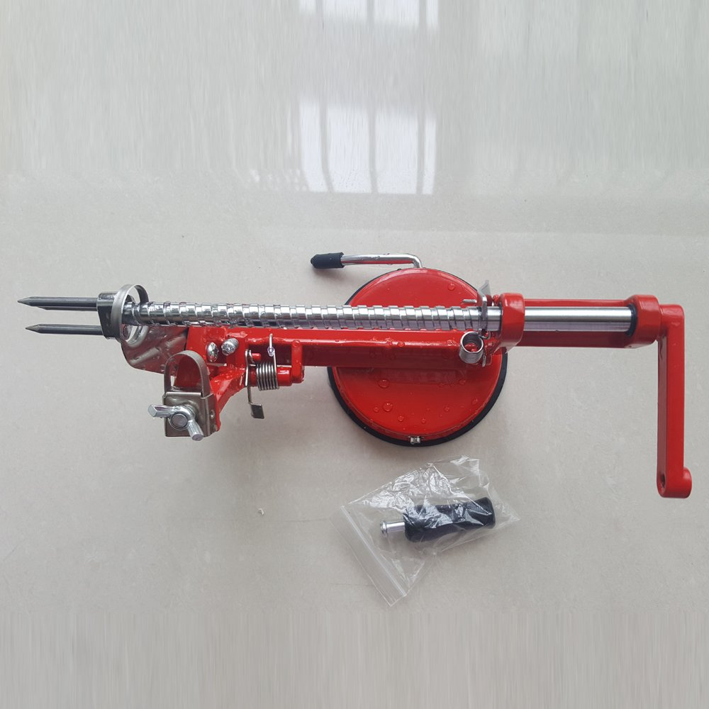 Apple Peeler Corer Slicer Machine with Vacuum Suction Base - Cast Iron Rotating Spiralizer Apple Peeler for Countertop with Stainless Steel Blades for Apples Fruit Vegetable or Potato - Red UHOO
