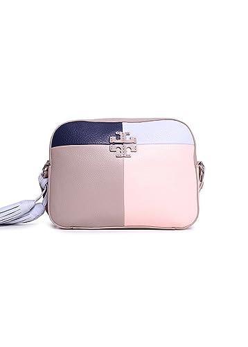 b4c4963e4516 Tory Burch Thea Patchwork Crossbody Shoulder Bag in French Gray Multi   Handbags  Amazon.com