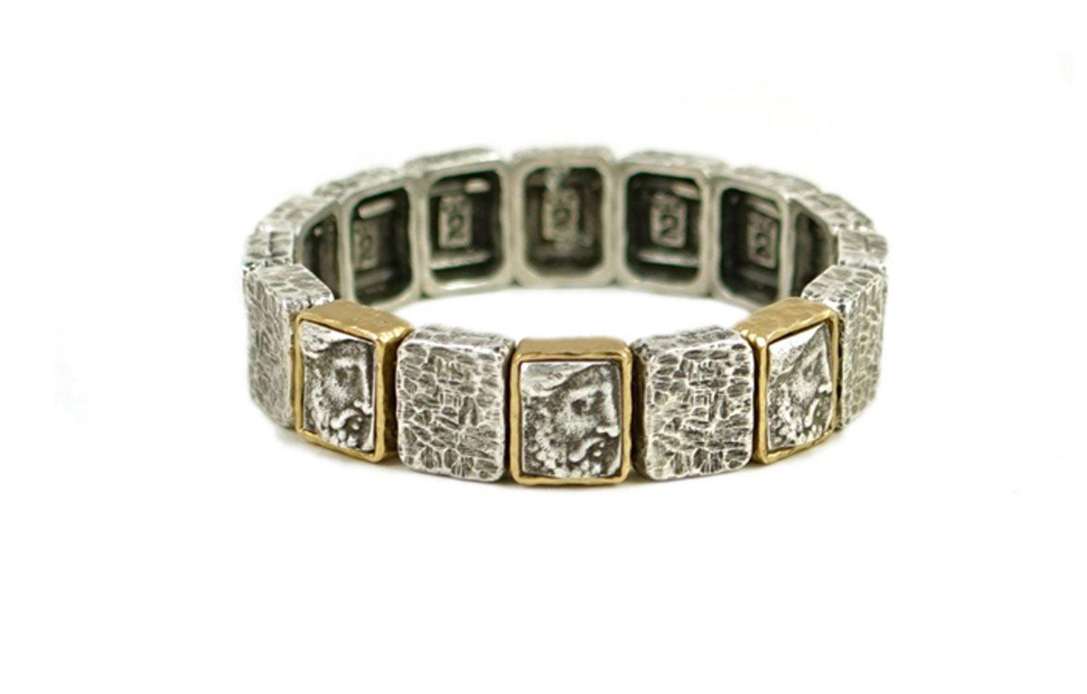 Tat2 Designs Women's Vintage Silver Plated Cloch Roman Man Bracelet