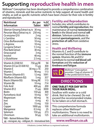 Vitabiotics Wellman Conception Tablets 30 Capsules: Amazon.es: Electrónica