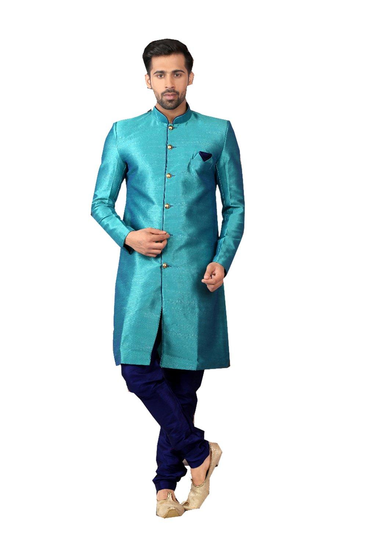 Indian Kurta Pajama Men Wedding Indo-Western Designer Dress Partywear Outfit In Turquoise Raw Silk