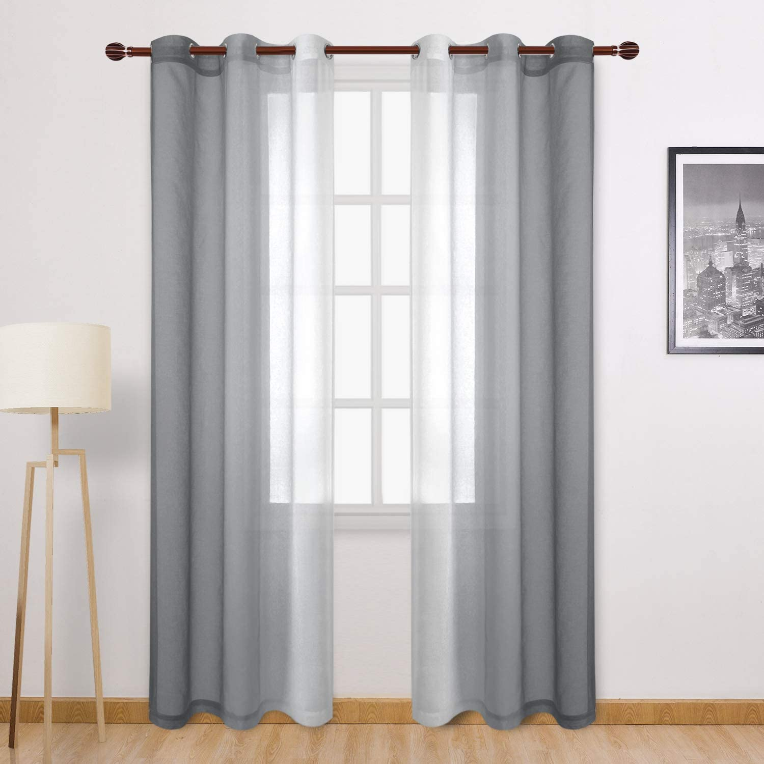 DWCN Grey Faux Linen Ombre Sheer Curtains - Semi Voile Gradient Grommet Top Curtains for Bedroom and Living Room, Set of 2 Window Curtain Panels, 42 x 84 Inches Long
