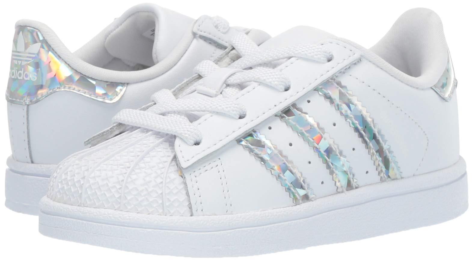 adidas Originals Unisex Superstar Running Shoe, White/White/White, 1 M US Little Kid by adidas Originals (Image #6)