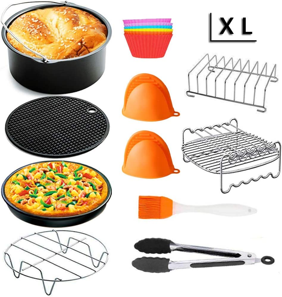 XL 8 inch Air Fryer Accessories,for Phillips Air Fryer and Gowise Air Fryer Fit all 3.7QT-5.3QT,Set of 5 (XL- Round)
