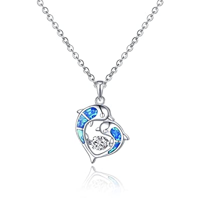 3c8b594675b38 JO WISDOM 925 Sterling Silver Blue Fire Opal Dolphin Necklace with Dancing  Diamond CZ Necklaces,18-20