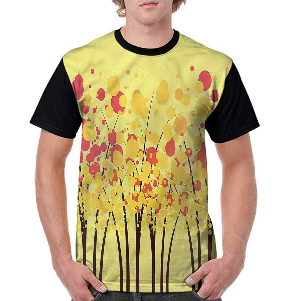 Printed Short Sleeves,Yellow,Chevron Pattern Yellow S-XXL Baseball T-Shirt Tee Tops
