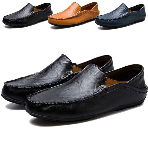 Sunny Holiday Mocasines Hombres Zapatos Planos con Cordones de Piel Hombre Casual Zapatos de Conducción 38-46 EU