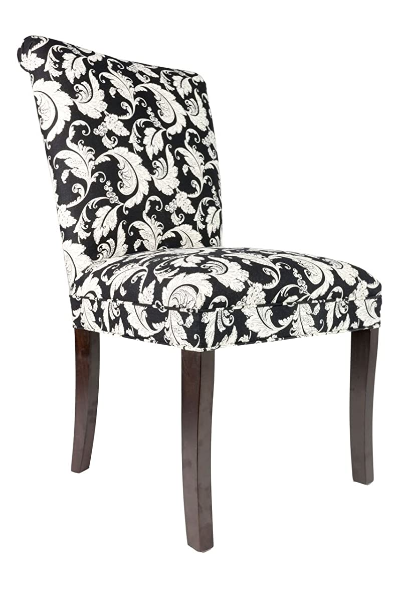 Sole Designs The Barcelona Collection Contemporary Style Fabric Upholstered Armless Dining Side Chairs (Set of 2), White and Black