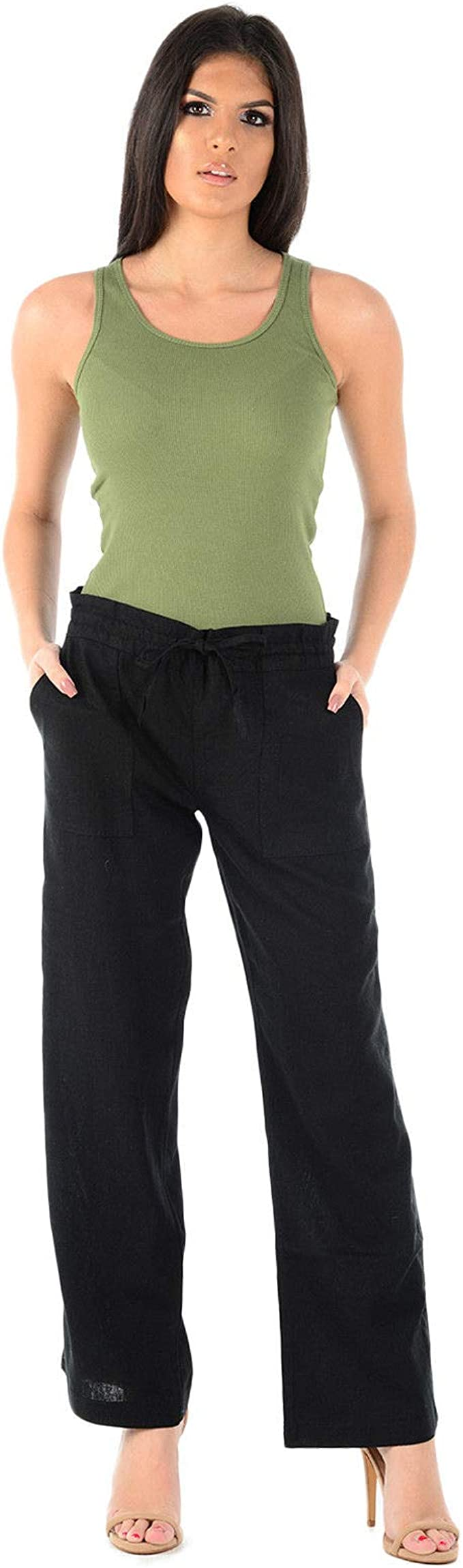 Womens Loose Fit Trousers Summer Elasticated Waist