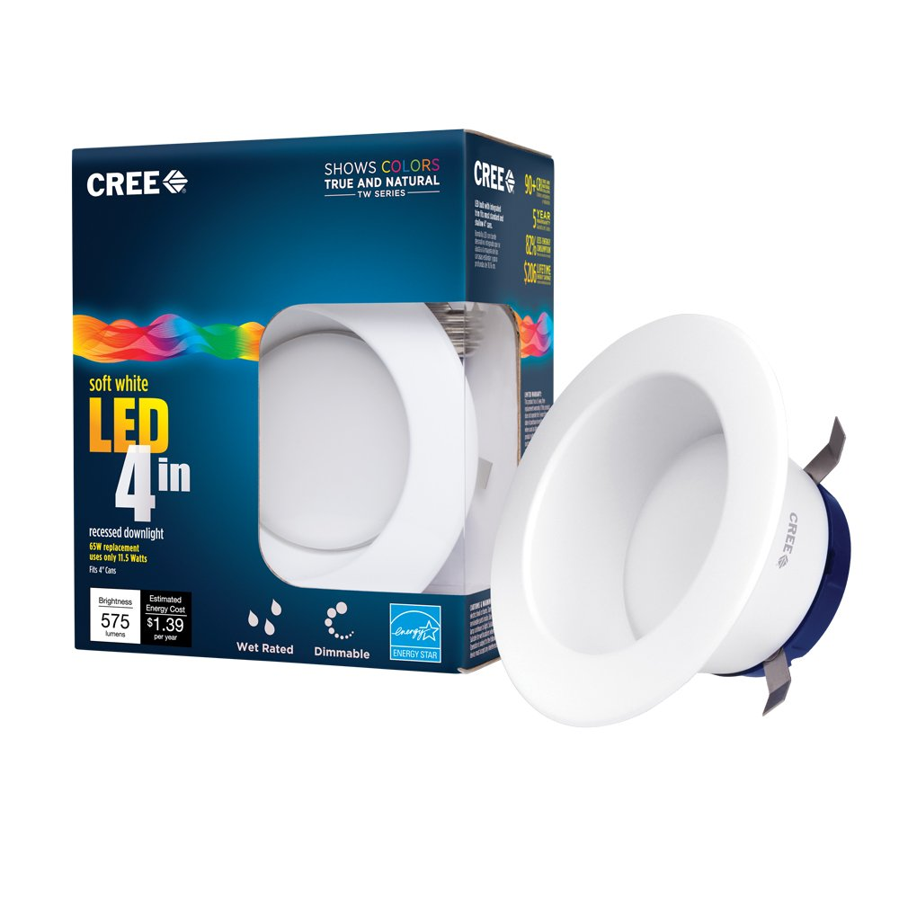Cree tw series 4 in 65w equivalent soft white 2700k led retrofit cree tw series 4 in 65w equivalent soft white 2700k led retrofit recessed downlight amazon aloadofball Choice Image