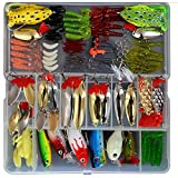 Bluenet 129pcs Fishing Lure Set ,Including Frog Lures, Spoon Lures, Soft Plastic Lures, Popper, Crank, Rattlin and More