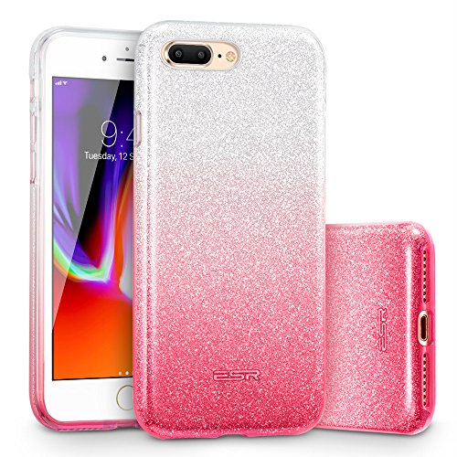 ESR iPhone 8 Plus Case, iPhone 7 Plus Case,Glitter Sparkle Bling Case [Three Layer] for Girls Women [Supports Wireless Charging] for Apple 5.5 iPhone 8 Plus/7 Plus(Ombre Pink)