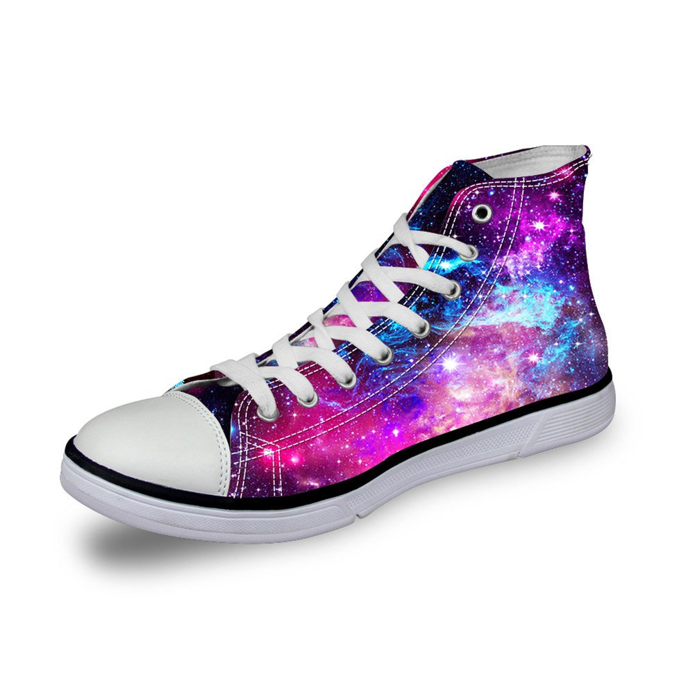 Coloranimal Outdoor Travel Flat Walking Sneakers Galaxy Pattern Women High Top Canvas Shoes US9