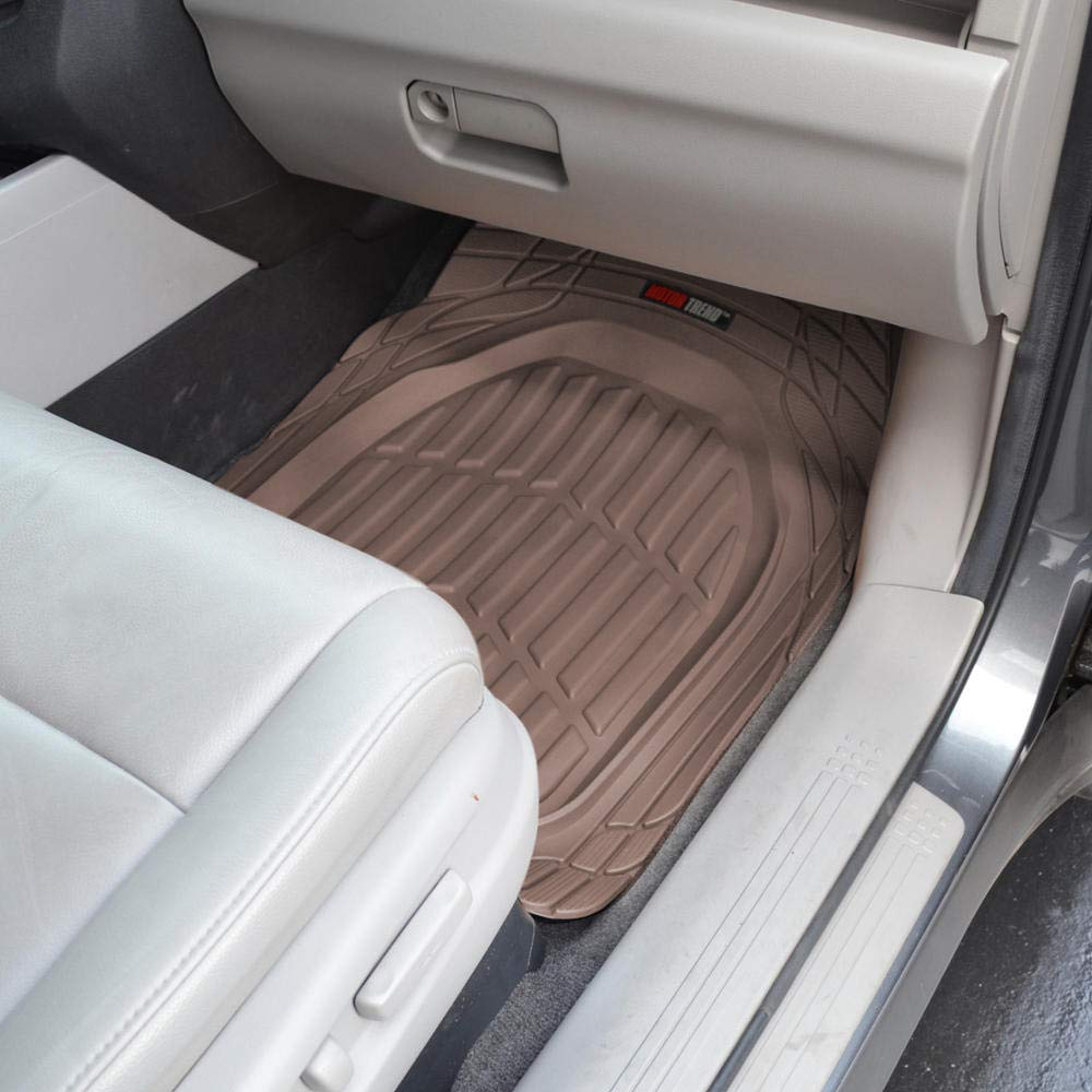 Motor Trend OF-923-BW BROWN FlexTough Contour Liners-Deep Dish Heavy Duty Rubber Floor Mats for Car SUV Truck /& Van-All Weather Protection