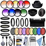 Opteka 52mm Professional 9pc Solid and Graduated Filter Accessory Bundle with 5pc Filter kit (UV-CPL-FL-ND4-10x), 4pc Macro Lens Set (+1,+2,+4,10x), Tulip & Rubber Lens hoods + Cleaning kit and More
