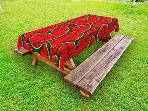 Cheap  Ambesonne Fruits Outdoor Tablecloth, Refreshing Watermelon Slices Summer Season Tropical Organic Yummy..