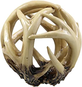 Ebros Gift Wildlife Rustic Buck Elk Deer Stag Entwined Antlers Orb Potpourri Decorative Ball Home Accent Sphere Figurine Paper Weight Mantelpiece Shelves Table Cabin Lodge Decor (1)