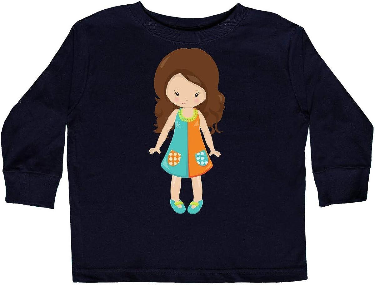 inktastic Fashion Girl Colorful Dress Brown Hair Toddler Long Sleeve T-Shirt