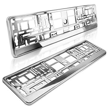 520 x 110 mm Hochglanz ROT schildEVO 2 Kennzeichenhalter Metallic Chrom-Look
